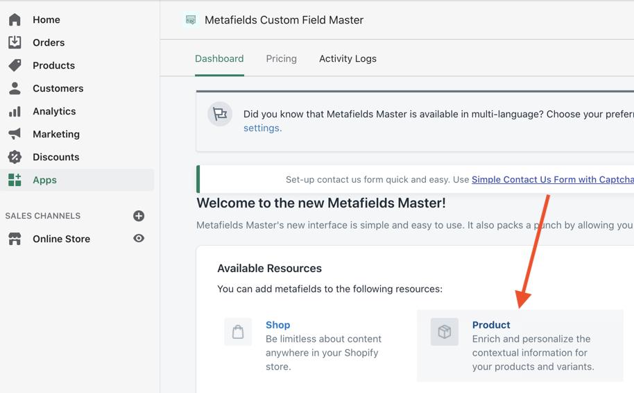 metafields product