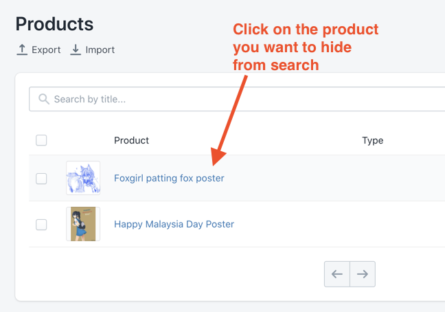 select product to hide from search