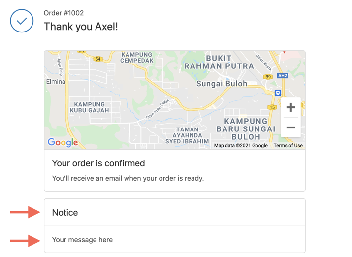 order status page message
