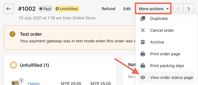 view order status page
