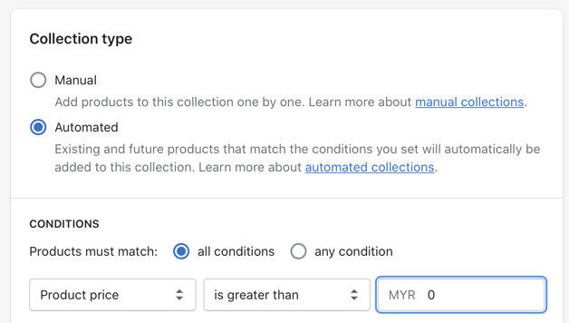 automated collection using price