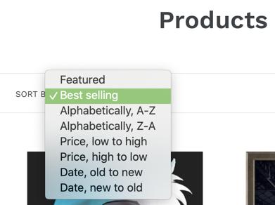 sort options UI