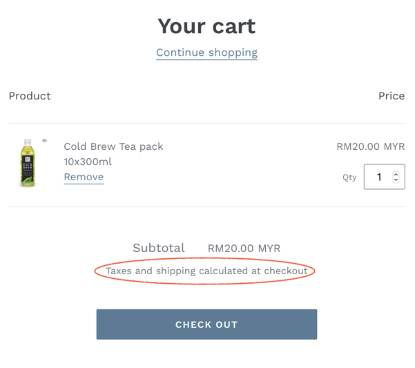 calculated at checkout text on cart page